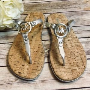 Michael Michael Kors Grey Cork Jelly Sandals NWOB
